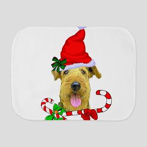 Airedale Terrier Christmas Burp Cloth