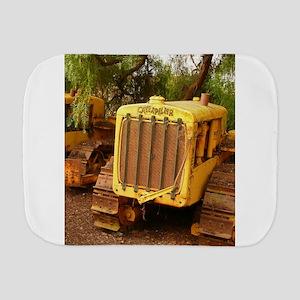 vintage yellow tractor Burp Cloth