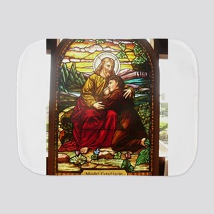 stained glass Jesus Burp Cloth