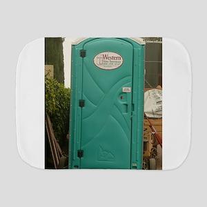 aqua outhouse at work site in san Jose Burp Cloth