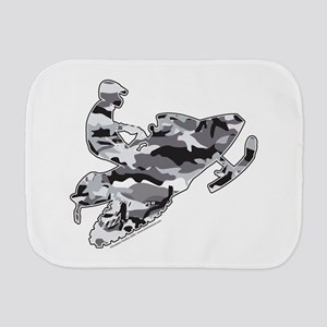 Camouflage Grey Snowmobiler Burp Cloth
