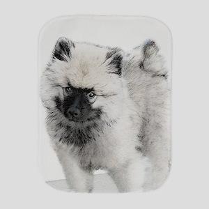 Keeshond Puppy (Drawing) Burp Cloth