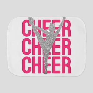 Pink Cheer Glitter Silhouette Burp Cloth