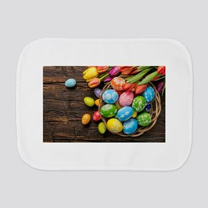 easter-eggs-colorful-tulips-wood-basket Burp Cloth