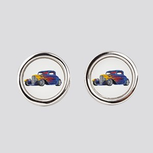 Flame Out Hot Rod Round Cufflinks