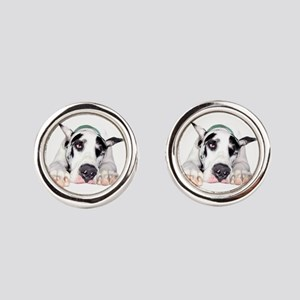 Great Dane Shy Harlequin Round Cufflinks