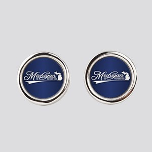 Michigan State of Mine Round Cufflinks