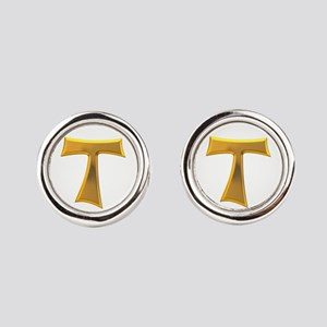Golden Franciscan Tau Cross Round Cufflinks
