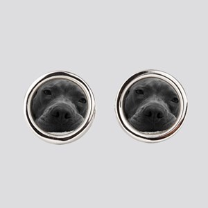 Cute Black And White Pit Bull Face Cufflinks