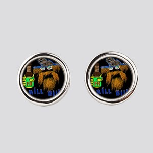 DRILLBILLY BLUE round Round Cufflinks