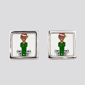barack obama santa claus Square Cufflinks