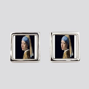 Johannes Vermeer's Girl with a Pe Square Cufflinks