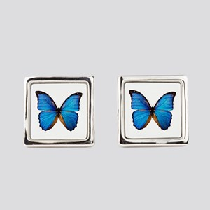 Animals Blue Butterfly Square Cufflinks