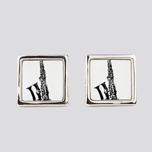 Music saxophone design Square Cufflinks