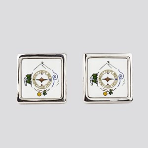 Hiker's Soul Compass Square Cufflinks