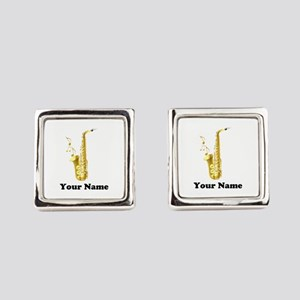 Saxophone Personalized Square Cufflinks