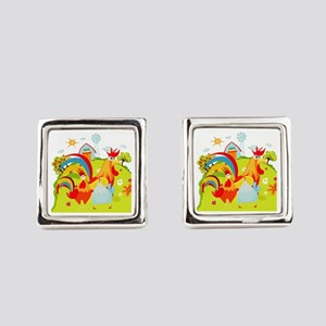 Rooster and Chicken on Farm Cufflinks