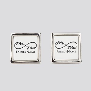 Custom Infinity Mr. and Mrs. Square Cufflinks