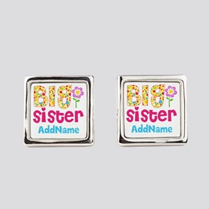 Big Sister Pink Teal Floral Perso Square Cufflinks