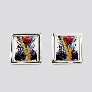 Musical Instruments Sax Piano Cit Square Cufflinks