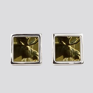 Moose Dipping His Head Into Water Square Cufflinks
