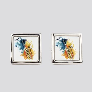 Saxophone Painting Square Cufflinks