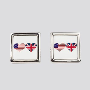 USA and UK Heart Flag Square Cufflinks