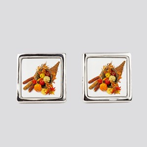 Thanksgiving Cornucopia Square Cufflinks