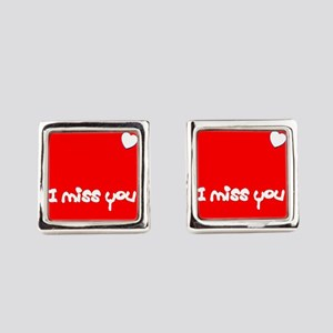 I Miss You Heart Valentines Red f Square Cufflinks
