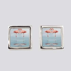 Pink Flamingos in Love Square Cufflinks