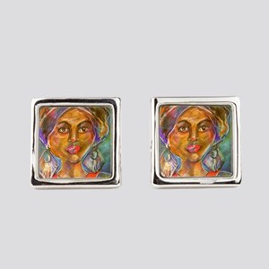 Exotic Woman art Square Cufflinks