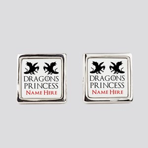 Dragons Princess Personalized Square Cufflinks