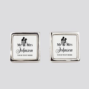 Personalized Mr and Mrs Square Cufflinks