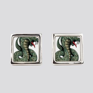 Striking Green Cobra Square Cufflinks