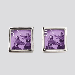 Purple Vintage 1960 Japan Kendo Postage  Cufflinks