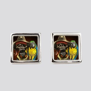 J Rowe Pirate and Parrot Black Ba Square Cufflinks