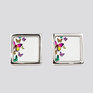 Colorful Butterfly Square Cufflinks
