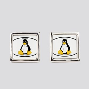 Tux Linux Oval Square Cufflinks