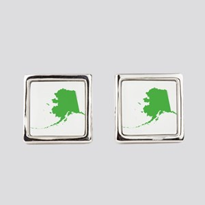 Alaska State Shape Outline Square Cufflinks