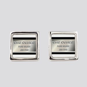 One Ounce Silver Ingot Square Cufflinks