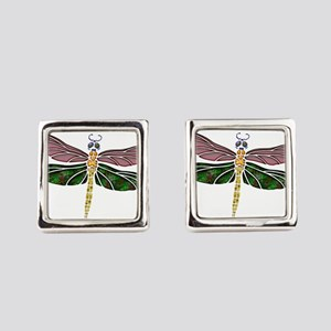 sTAINED gLASS Dragonfly Square Cufflinks