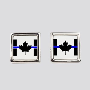 Canadian Police: Thin Blue Line Square Cufflinks