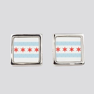 Damask Chicago Flag Square Cufflinks