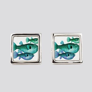 Trio of Blue Green Puffer Fish Square Cufflinks
