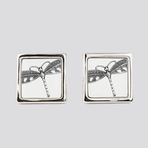 Metallic Silver Dragonfly Square Cufflinks