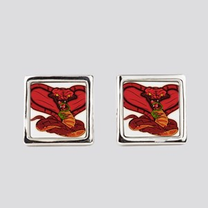 Evil Red Cobra Square Cufflinks