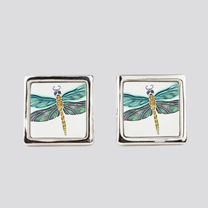 Glowing Stained Glass and Abalone Square Cufflinks