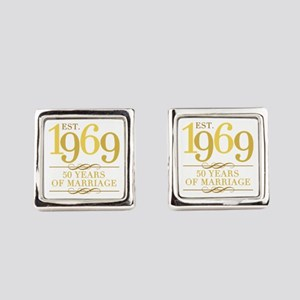 Est. 1969 50th Wedding Anniversar Square Cufflinks