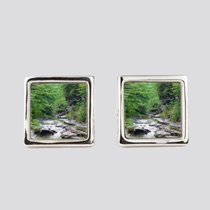 forest river scenery Square Cufflinks