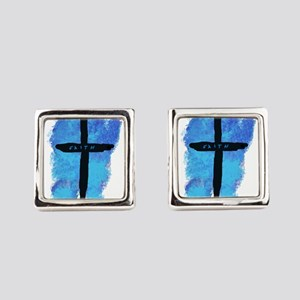 Black Cross on Blue Background Square Cufflinks